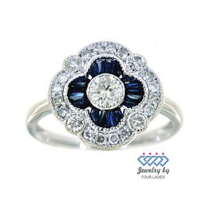 Real Diamond Blue Sapphire CocktailRing White Gold